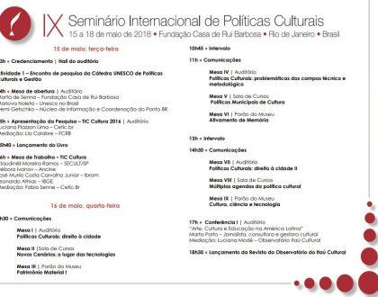 IX Seminário Internacional de Políticas Culturais